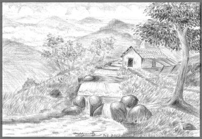 scenery Green village Field on Black & White