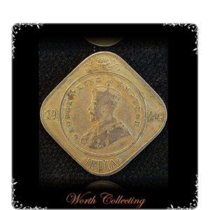 1924 2 Annas King George V Bombay mint