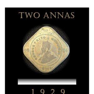 1929 2 Annas King George V Calcutta mint
