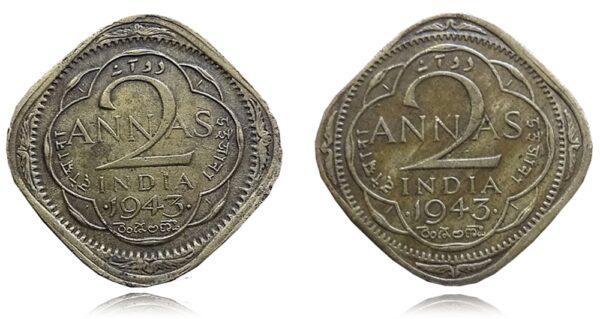 1943 2 Annas with BIG 3 Rarest Found M