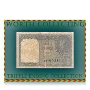1940 1 Rupee British India Note sig by C.E.Jones with fancy no U 83 655111