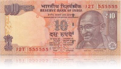 2012 10 Rupee Note L Inset Sign by Dr.Subbarao 12T 555555 (O)