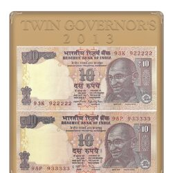 2013 10 Rupee Note's Plain Inset Sign by Raghuram Ji Rajan & A Inset Sign by Dr.Subbarao UNC Notes