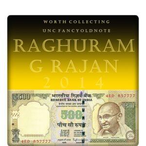2014 UNC OLD 500 Rupee Note sig by Raghuram G Rajan semi fancy numver note D - 4ED 857777