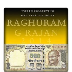 2014 UNC OLD 500 Rupee Note sig by Raghuram G Rajan semi fancy numver note H - 5DC 440555