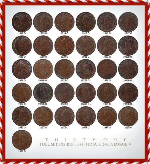 1912 1913 1914 1915 1916 1917 1918 1919 1920 1921 1920 1921 1923 1924 1925 1926 1927 1928 1929 1930 1931 1932 1933 1934 1935 1936 1/12 anna coins Set