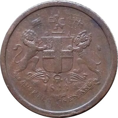 1833 1 Pie East India Company Big Lion Variety Coin - Worth Collecting (O)