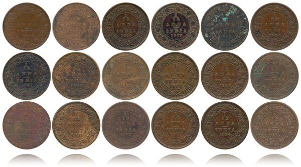 1914 1915 1916 1917 1918 1920 1921 1924B 1925B 1926B 1928B 1929 1930 1931 1932 1933 1934 1935 1 12 ANNA King George V British India Copper Coins - Value worth Collecting R