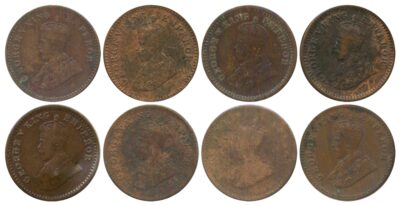 1914 1915 1916 1917 1918 1928 1930 1932 1 12 ANNA King George V British India Copper Coins- Value worth Collecting O