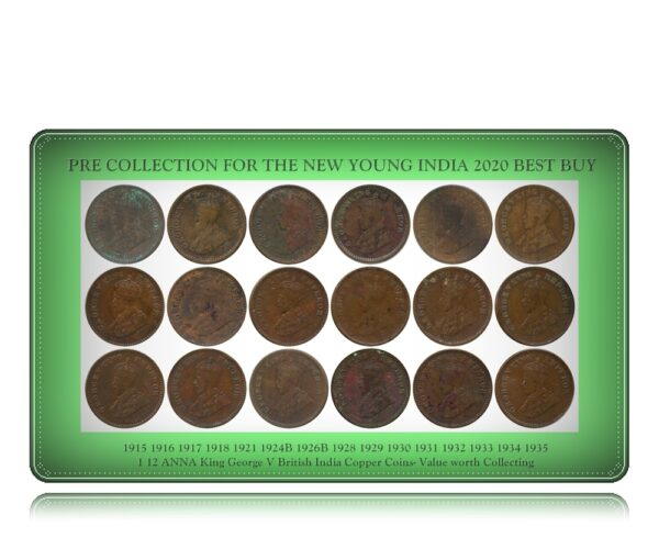 1915 1916 1917 1918 1921 1924B 1926B 1928 1929 1930 1931 1932 1933 1934 1935 1 12 ANNA King George V British India Copper Coins- Value worth Collecting