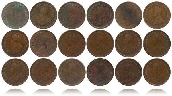 1915 1916 1917 1918 1921 1924B 1926B 1928 1929 1930 1931 1932 1933 1934 1935 1 12 ANNA King George V British India Copper Coins- Value worth Collecting O