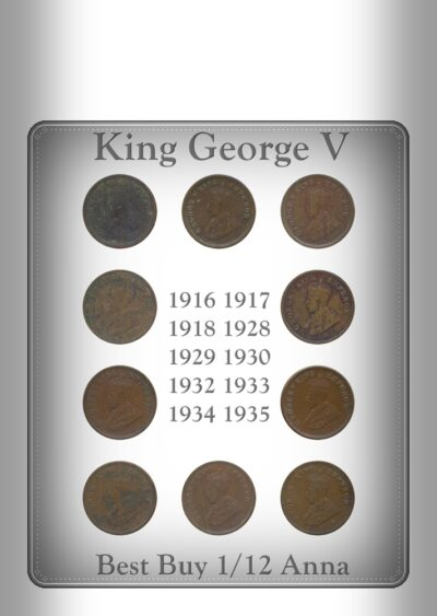 1916 1917 1918 1928 1929 1930 1932 1933 1934 1935 1 12 ANNA King George V British India Copper Coins- Value worth Collecting- Value worth Collecting