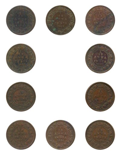 1916 1917 1918 1928 1929 1930 1932 1933 1934 1935 1 12 ANNA King George V British India Copper Coins- Value worth Collecting- Value worth Collecting R