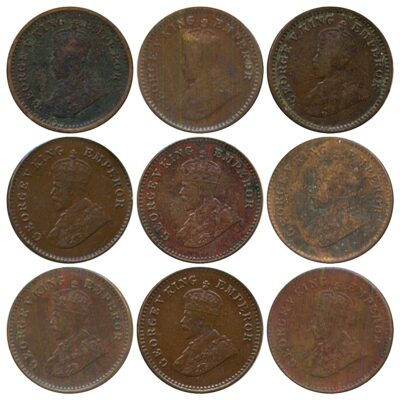 1916 1917 1918 1928B 1932 1933 1934 1935 1 12 ANNA King George V British India Copper Coins- Value worth Collecting O
