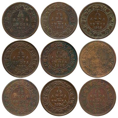 1916 1917 1918 1928B 1932 1933 1934 1935 1 12 ANNA King George V British India Copper Coins- Value worth Collecting R