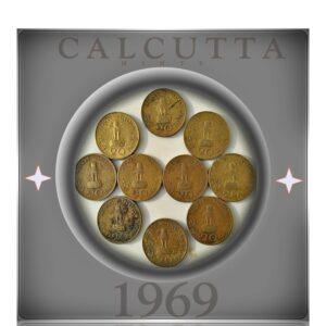 1969 20 Paise Calcutta Mints - Gandhi Coins 10 nos = Best Value Price - Worth Collecting