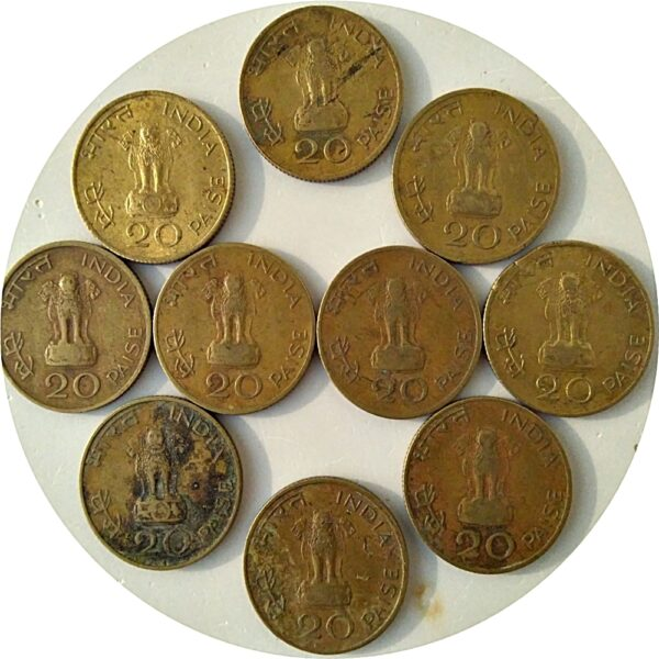 1969 20 Paise Calcutta Mints - Gandhi Coins 10 nos = Best Value Price - Worth Collecting (O)