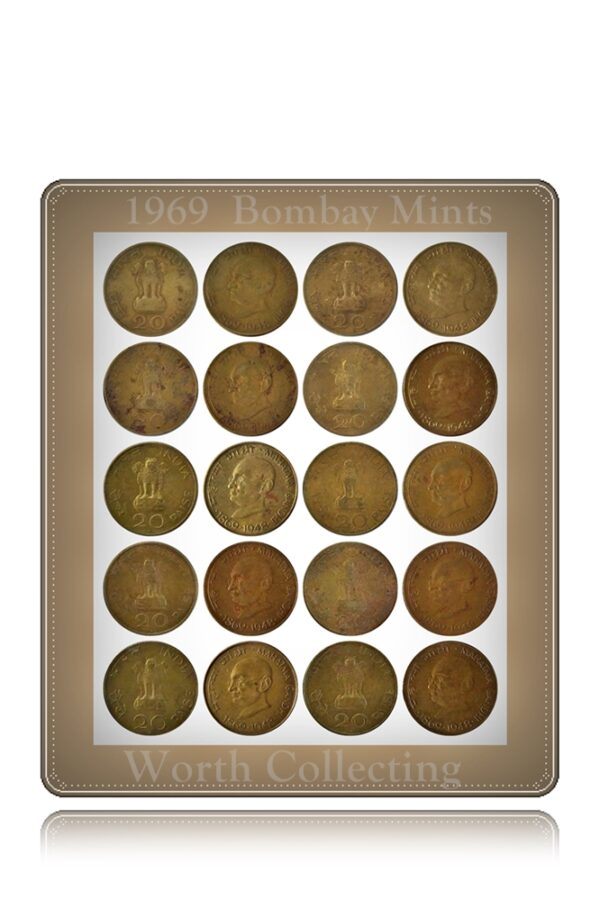 1969 20 Paise Mahatma Gandhi Aluminium Bronze -10 Coins - Worth Collecting