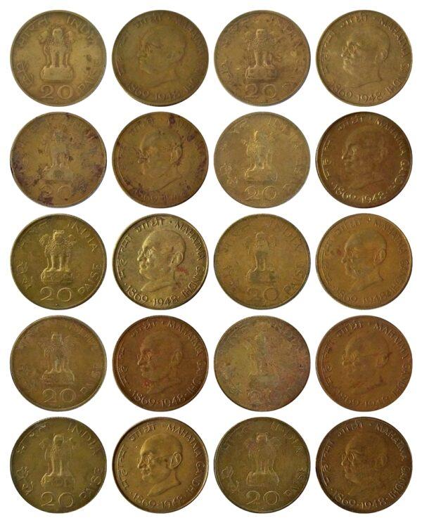 1969 20 Paise Mahatma Gandhi Aluminium Bronze -10 Coins - Worth Collecting O & R