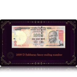 2009 Old 1000 Rupee Note D Subbarao fancy ending number J-29 4BD 079111 R Inset