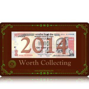 2014 Old 1000 Rupee Note Sig by RAGHURAM G RAJAN with fancy tripple ending number Plain Inset