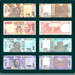 10 20 50 100 Rupee New UNC condition notes ending with 786
