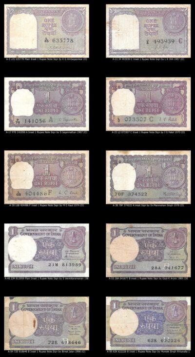 1 Rupee 10 notes O