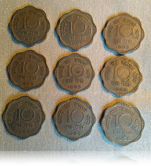 1965 10 paise Copper Nickel Scalloped Coins 9 nos - Class Worth Collecting (O)