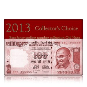 2013 Old 100 Rupee Note with super fancy note ending with G-- 6BD 355555 A Inset Sign by D Subbarao