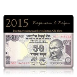 2015 Old 50 Rupee Note Plain Inset Sign by Raghuram G Rajan ending with F-- 5GC 345222