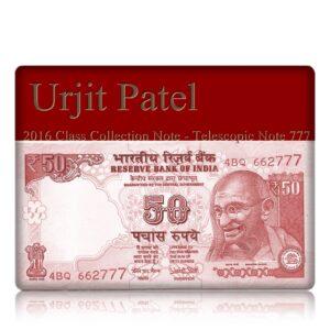 2016 50 Rupee Note Plain Inset Sign by Urjit Patel fancy number ending with 777 telescopic note