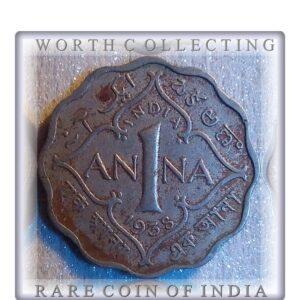 1938 1 Anna British India King George VI Calcutta Mint - Rare Collection